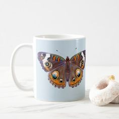 Blue Common Buckeye Butterfly Realistic Painting Coffee Mug - home gifts ideas decor special unique custom individual customized individualized