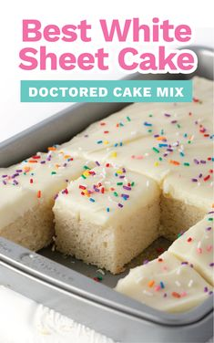 This is our favorite recipe! Transform a boxed cake mix into a super moist, bakery-worthy birthday cake just by adding a few extra ingredients. Recipes Using Cake Mix, Box Cake Recipes, Sheet Cake Recipes, Dessert Recipes, Frosting Recipes, Cake Mix Cupcakes, Cake Mix Desserts, Cupcake Cakes, Sweets