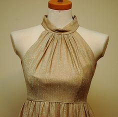 Gold Vintage Halter Dress by LadyLuxeVintage on Etsy, $20.00