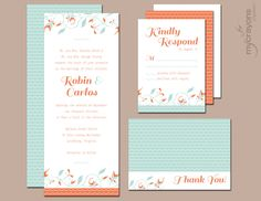Mint and Coral Retro Chic Wedding Invitation by MyCrayonsPapeterie