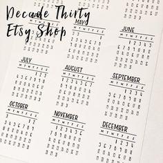 Decade Thirty 2016 Calendar cut-outs Signature - Monday start