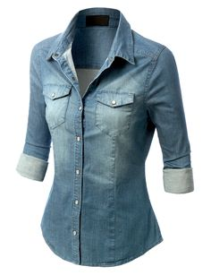 c9837dc742b46 A button-front shirt is cut from lightweight denim in a relaxed silhouette  with front