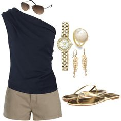 Summer chic. - mcloveinstyle I love the top and the jewelry.