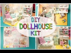 DIY Miniature Dollhouse Kit Cute Room with Working Lights! Hemiola's Roombox - YouTube