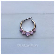 Pink Opalite septum clicker septum ring by lotusfairy on Etsy