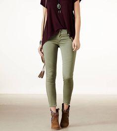 Olive Pants  dark purple top
