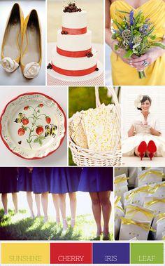 Color Palette Idea:  Palette Solution: Sunshine, Cherry, Iris, and Leaf