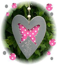 Cœur en bois, déco patch......forme papillon