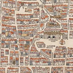 Paris circa 1150 under the reign of King Henry II of France. Created by Olivier Truschet and Germain Hoyau. Vintage Maps, Antique Maps, Vintage Posters, Plan France, Paris Map, Plan Paris, Old Maps, City Maps, Merian