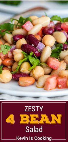 Bean Recipes, Side Dish Recipes, Salad Recipes, Vegetable Side Dishes, Vegetable Recipes, Vegetarian Recipes Easy, Cooking Recipes, Slow Cooker Beans, Three Bean Salad