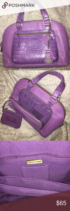 Giani Bernini Leather 3Section Satchel w/ Wallet New Genuine Leather Giani Bernini Tri-Compartment Satchel Handbag. COMES w/ MATCHING WALLET!  Real Pretty Purple Leather, a Soft Purple w/ a Darker Shade on the Alligator-Like Detail. (Front Pocket, Handles & Zipper Tags.) Brass Hardware. BEAUTIFUL Bag Inside & Out, Super Clean. No Stains/Scratches/Scuffs. 3 Interior Compartments as Giani Bernini is Known for.  1st Section has a Zipper Pocket & Extra Pocket. 2nd Section is a Zipper…