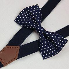 Navy blue white dots bowties,BOWTIE SUSPENDER SET,wedding bowties navy blue suspenders,infant bowties,toddler bowtie,boy bowtie,men bowties