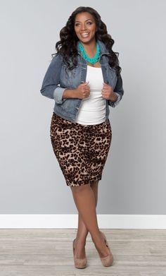 Make a fierce leopard print, like our plus size Rhapsody Ruched Skirt, perfect for spring with a denim jacket and pops of turquoise.   www.kiyonna.com  #KiyonnaPlusYou  #Plussize  #MadeintheUSA  #Kiyonna