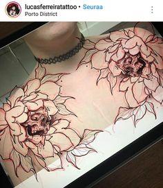 Tattoos for women Time Tattoos, All Tattoos, Flower Tattoos, Body Art Tattoos, Sleeve Tattoos, Chest Tattoos For Women, Chest Piece Tattoos, Tattoo Sketches, Tattoo Drawings