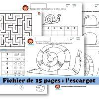 fichier maternelle sur le thème de l'escargot