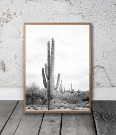 Desert Cactus Print Large Cactus Wall Art Black and White