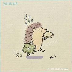1442 遅刻しそう! I'll be late! #illustration #hedgehog #イラスト #ハリネズミ #なみはりねずみ