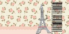 Paris with Roses: Free Printable Cards or Invitations.