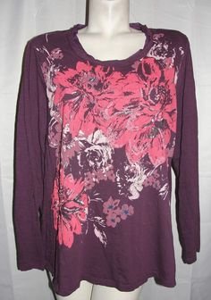 Sonoma Life + Style Top Women's Plus Size 12 Plum Sequin Beaded LS Cotton Shirt #Sonoma #KnitTop #Casual