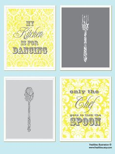 Kitchen Print Set  Kitchen Wall Art  Kitchen Quote  by Freshline, $60.00