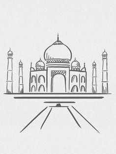 Line # line - Zeichnung Cool Art Drawings, Pencil Art Drawings, Art Drawings Sketches, Easy Drawings, Drawing Art, Taj Mahal Dibujo, Taj Mahal Drawing, Taj Mahal Sketch, Pen Art