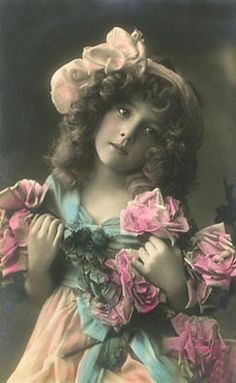 typical pose of young girls, tilted head with roses (very like the photo of my grandmother in this pose at age 16, early 1900s)