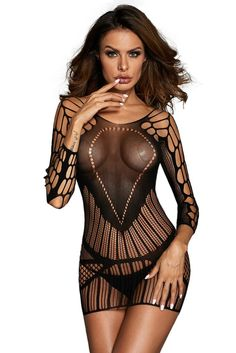 57ed0fb617 Sexy Seamless Mesh Hollow-out Chemise Lingerie Wholesale Online