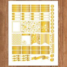 Golden Planner Stickers Printable Erin by PrintThemAllStudio