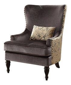 Look at this #zulilyfind! Dark Gray Velina Wingback Chair #zulilyfinds