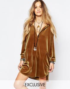 Reclaimed Vintage Velvet Shirt Dress