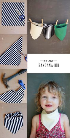 DIY No Sew Bandana Bib - Doing this, although might neat in up the edges with the old sewing machine! :)