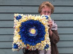 Rag Rug Pillow Cover Idea Rita Made A Lovely Cushion After Attending One Of My Works In Hertfordshire I Love The Beautiful Yellows
