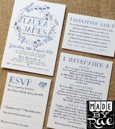 Navy / Royal / Powder Blue & White Floral Garland Wreath Rustic Wedding Invitations Stationery available on white, natural white or ivory textured card with kraft of navy blue envelopes.