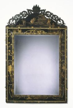 Mirror  Place of origin: England, Great Britain (made)  Date: ca. 1680 (made)  Artist/Maker: Unknown (production)  Materials and Techniques: Pine, veneered with Japanese lacquer including mother-of-pearl, and painted black and gold  Credit Line: Purchased with the assistance of the Brigadier Clark Fund through The Art Fund  Museum number: W.74-1981