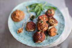 Thai Turkey Meatballs with Savory Peanut Sauce by thedish.plated #Appetizers #Meatballs #Turkey