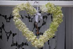 Heart of pale hydrangea flowers