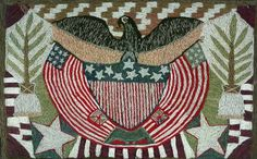 A Fine Woolwork Picture of An American Eagle and Flag, Circa 1860#Repin By:Pinterest++ for iPad#