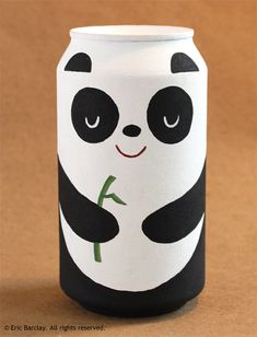 """just hanging out doing panda things. it's all good"""" Relaxed lil panda Cool Packaging, Food Packaging Design, Coffee Packaging, Bottle Packaging, Bottle Painting, Bottle Art, Jar Crafts, Bottle Crafts, Kids Crafts"""