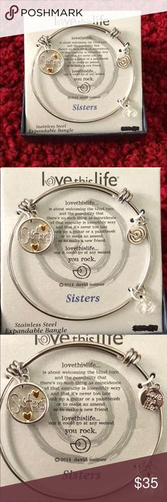 Stainless Steel Expandable Bangle Brand New (never worn) Stainless Steel Bangle with sisters charm Comes with box which includes a super sweet sentiment Jewelry Bracelets