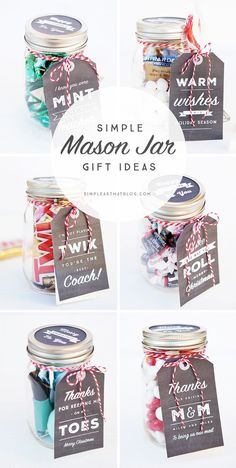 6 Simple Mason Jar gifts with Printable Tags to make gift giving easy and inexpensive for even the hardest to shop for on your Christmas list! gift inexpensive Simple Mason Jar Gifts with Printable Tags Diy Gifts For Christmas, Holiday Gifts, Inexpensive Christmas Gifts, Mason Jar Christmas Gifts, Christmas Gift For Employees, Christmas List Ideas, Coworker Christmas Gifts, Neighbor Gifts, Coach Christmas Presents