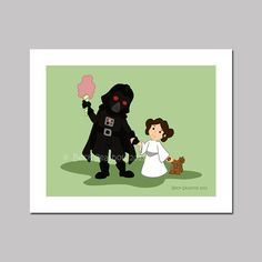 Darth Vader and Leia Cartoon Art Print