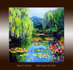 """Lily Pond Monet Garden Landscape Oil Painting with Palette Knife Impasto Texture on Small Canvas 8x8"""" Ready to Hang"""
