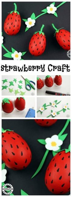 Today we have a fun and easy to make Strawberry Egg craft, perfect for summer fun with the kids and as a unique Easter egg idea. Strawberry Crafts, Fruit Crafts, Egg Crafts, Book Crafts, Best Fruits, Love Eat, Crafts For Kids To Make, Summer Fun, Easter Eggs