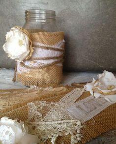 Rustic Wedding Decor for 20 Jars, Rustic Centerpiece, Burlap Mason Jar Centerpiece,  DIY Vintage Wedding Decor