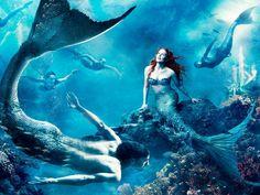 Julianne Moore [as Ariel - as a mermaid] & Michael Phelps [as a mermaid] (Disney Dream Ad by Annie Leibovitz) #TheLittleMermaid
