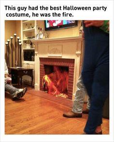 creative Halloween costume fireplace fire