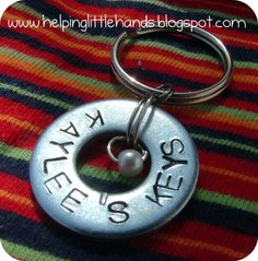 Helping Little Hands: Stamped Washer Key Chains