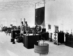 Interior of Tesla's Long Island Laboratory... Wardenclyffe. Note Tesla's numerous inventions are arrayed in an impressive display.