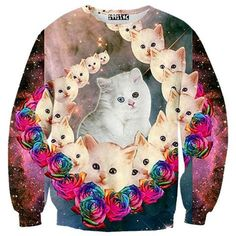 Cosmic Kitty Cat Face Galaxy Graphic Print Pullover Sweatshirt Sweater
