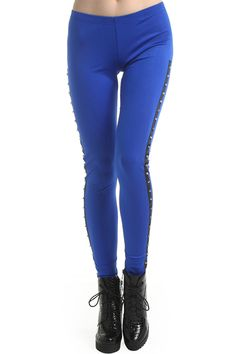 Dual-tone Studded Blue Leggings. Description Blue leggings, featuring an elastic waist, dual-tone design, black sides, decorated with black studs, a stretchy length and a soft touch. Fabric Nylon and Spandex. Washing Cool hand wash. #Romwe